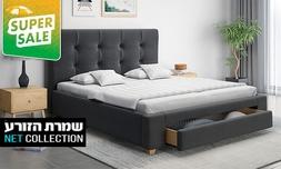 מיטה זוגית עם מגירת אחסון יעלי