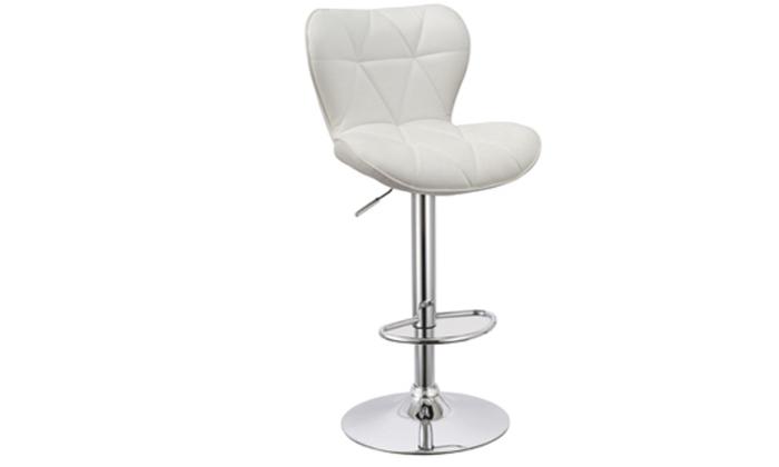 3 כיסא בר בריפוד דמוי עור במבחר צבעים