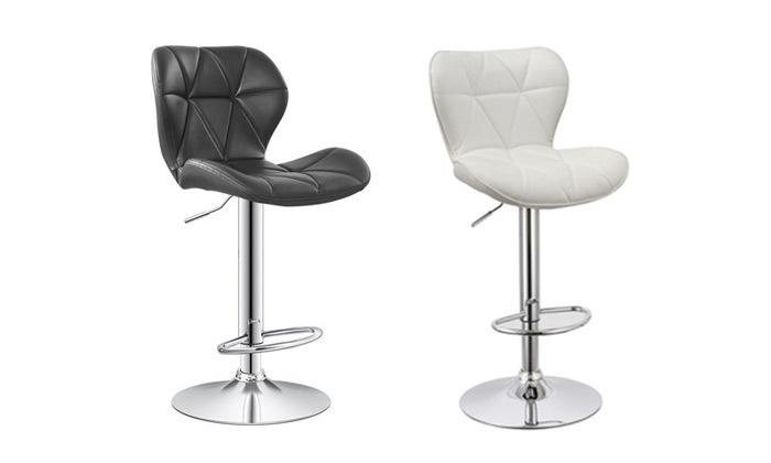 2 כיסא בר בריפוד דמוי עור במבחר צבעים
