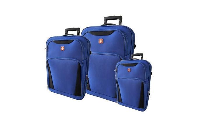 3 מזוודות SWISS קלות במיוחד - גדלים וצבעים לבחירה