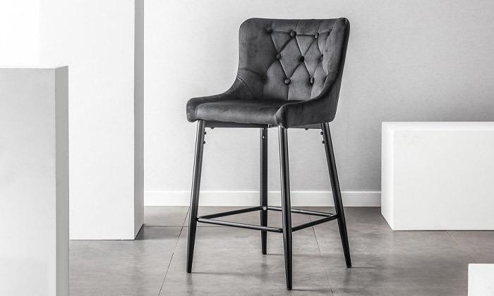 2 כיסא בר בריפוד קטיפה, דגם 9010