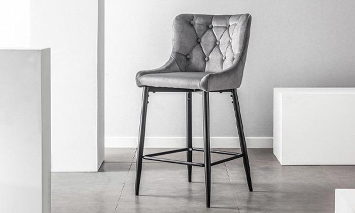 3 כיסא בר בריפוד קטיפה, דגם 9010