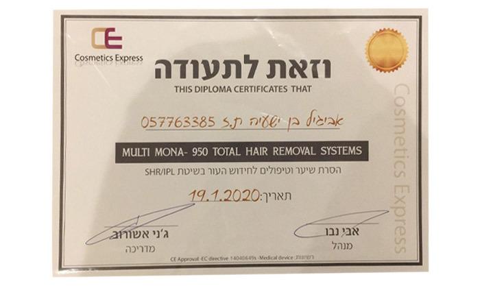 3 כרטיסיית טיפולי הסרת שיער בלייזר בקליניקה של אביגיל בן ישעיה, קריית אונו