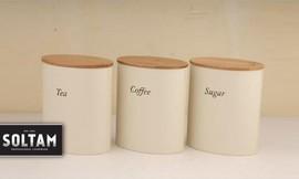 סט קופסאות אחסון קפה בצבע קרם