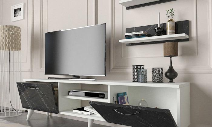 5 מזנון טלוויזיה ו-2 מדפים תואמים לתלייה
