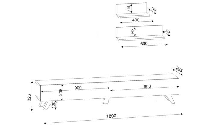 6 מזנון טלוויזיה 1.8 מטר + 2 מדפים
