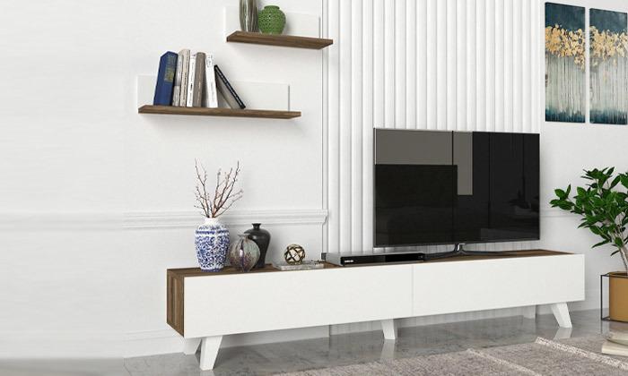8 מזנון טלוויזיה 1.8 מטר + 2 מדפים