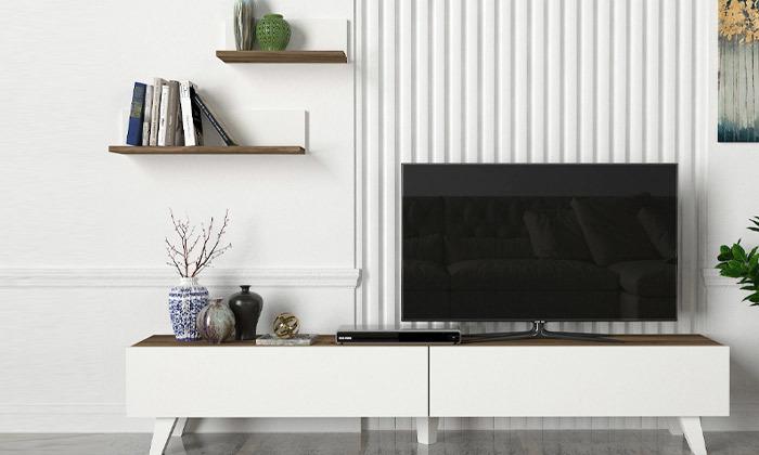 2 מזנון טלוויזיה 1.8 מטר + 2 מדפים