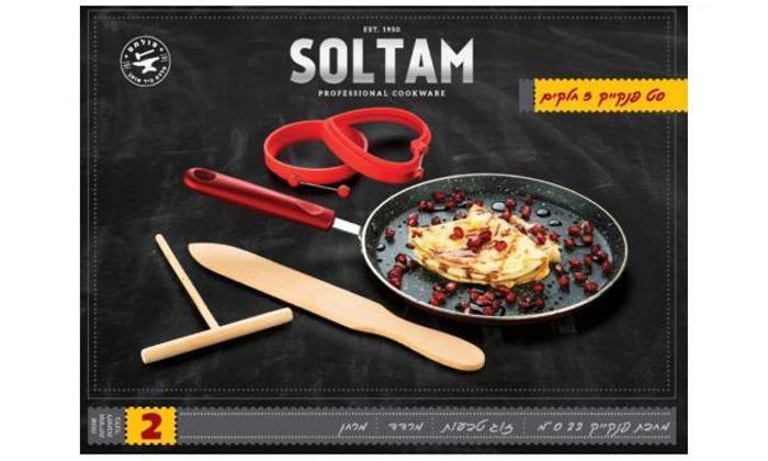 "3 SOLTAM סולתם: מחבת פנקייק 22 ס""מ ואביזרים"