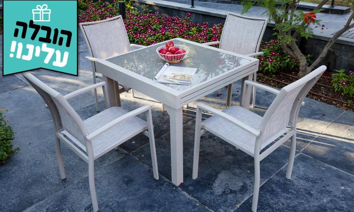 """6 סט שולחן נפתח ל-180 ס""""מ ו-4/6/8 כיסאות לגינה SCAB - משלוח חינם"""