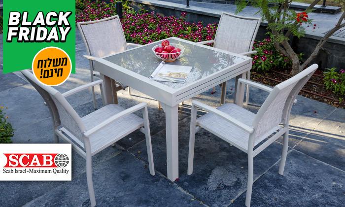 """2 סט שולחן נפתח ל-180 ס""""מ ו-4/6/8 כיסאות לגינה SCAB - משלוח חינם"""
