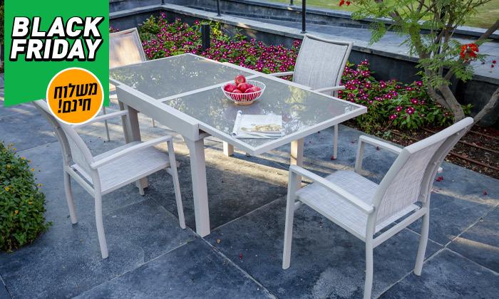 """5 סט שולחן נפתח ל-180 ס""""מ ו-4/6/8 כיסאות לגינה SCAB - משלוח חינם"""