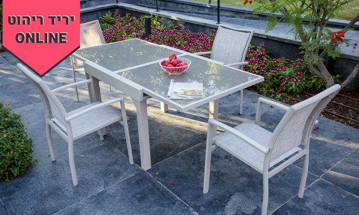 """5 סט שולחן נפתח ל-180 ס""""מ ו-4/6/8 כיסאות לגינה SCAB"""