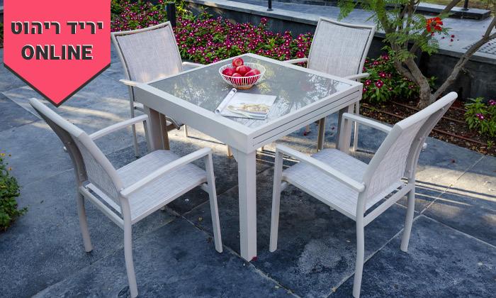 """6 סט שולחן נפתח ל-180 ס""""מ ו-4/6/8 כיסאות לגינה SCAB"""