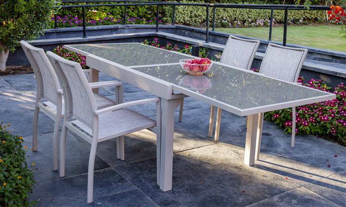 """5 שולחן נפתח ל-270 ס""""מ עם 4/6/8 כיסאות לגינה SCAB"""