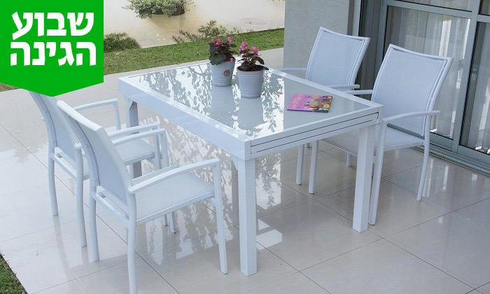 """6 שולחן נפתח ל-270 ס""""מ עם 4/6/8 כיסאות לגינה SCAB"""