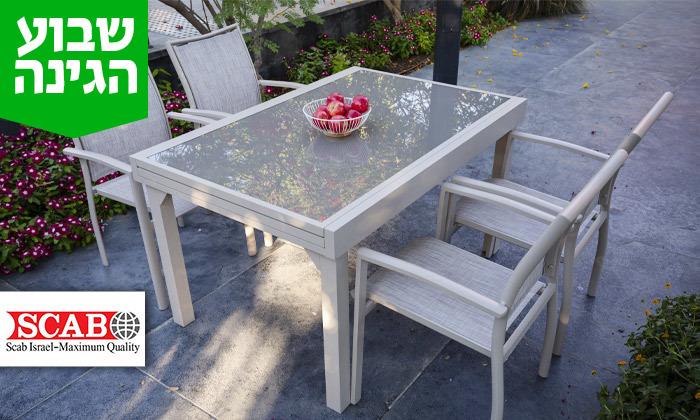 """2 שולחן נפתח ל-270 ס""""מ עם 4/6/8 כיסאות לגינה SCAB"""