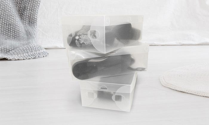 6 קופסאות שקופות לאחסון נעליים