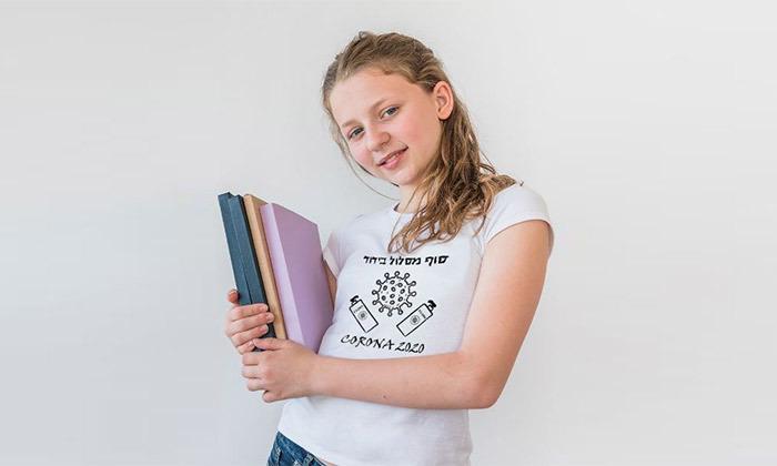 2 טי שרט לילדים עם הדפס - 'חולצת קורונה'