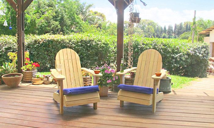 3 כיסא גינה מעץ מלא