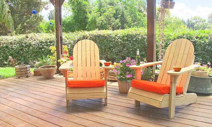 4 כיסא גינה מעץ מלא
