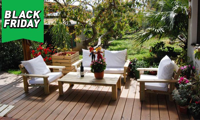 4 פינת ישיבה לגינה מעץ אורן מלא