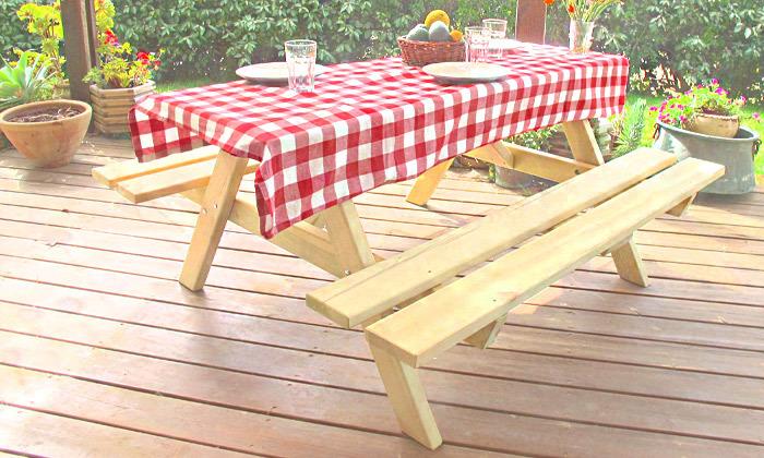 2 שולחן פיקניק מעץ מלא