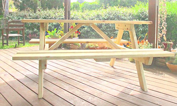 3 שולחן פיקניק מעץ מלא