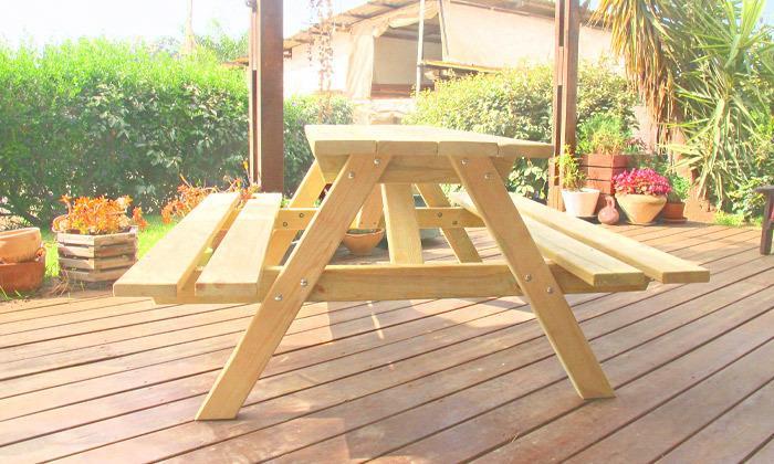 4 שולחן פיקניק מעץ מלא