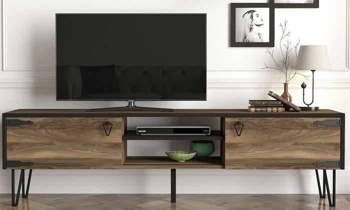 2 מזנון טלוויזיה עם רגלי סיכה, דגם HUGO
