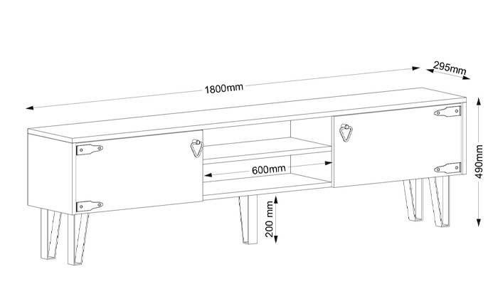 4 מזנון טלוויזיה עם רגלי סיכה, דגם HUGO