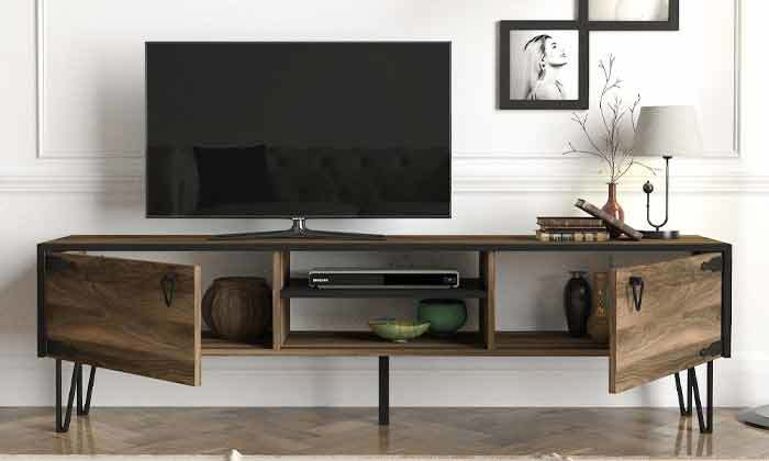 3 מזנון טלוויזיה עם רגלי סיכה, דגם HUGO