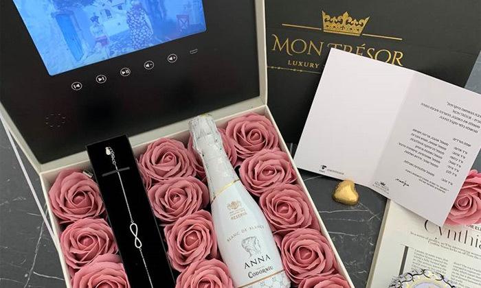 11 מארז מתנה יוקרתי LCD Box עם סרטון וידאו וורדי משי של MON TRESOR