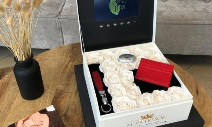 12 מארז מתנה יוקרתי LCD Box עם סרטון וידאו וורדי משי של MON TRESOR