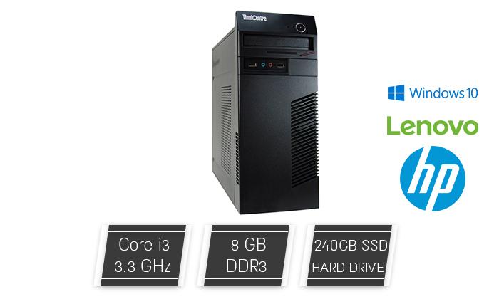2 מחשב נייח מחודש Lenovo/HP עם זיכרון 8GB ומעבד i3