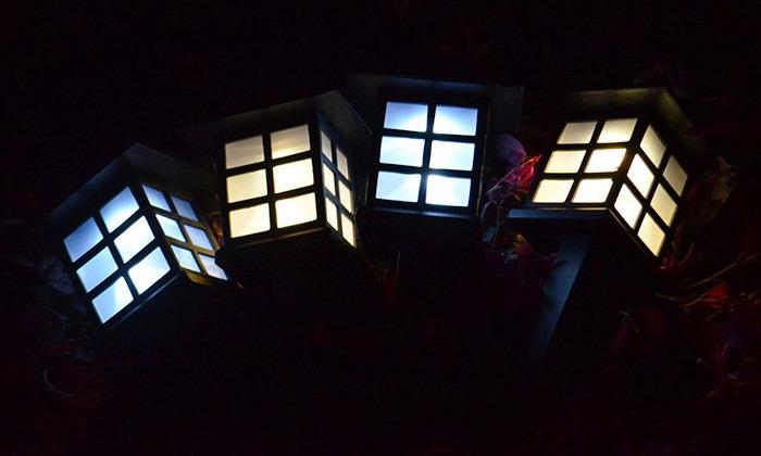 4 מנורות תאורה סולארית לגינה ולמרפסת