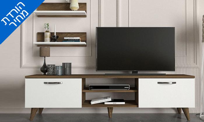 2 מזנון טלוויזיה עם 2 מדפי תלייה, דגם דקל