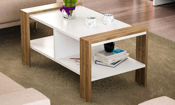 2 שולחן סלון עם מדף