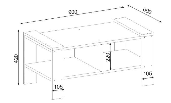 3 שולחן סלון עם מדף