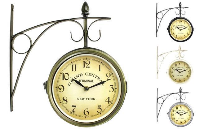 2 שעון קיר דו צדדי בעיצוב וינטג'