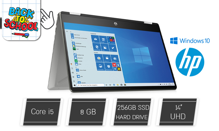 2 מחשב נייד HP עם מסך מגע מתהפך 14 אינץ'