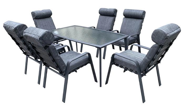 2 סט שולחן ושישה כיסאות לגינה דגם קלארה