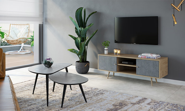 8 סט מזנון ושולחן לסלון