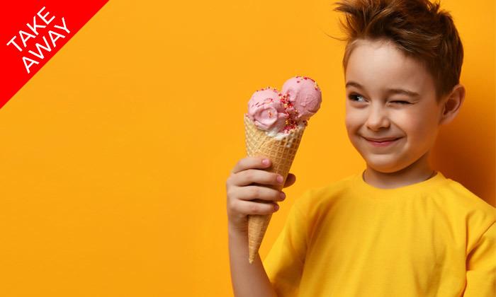 """5 1 ק""""ג גלידה ב-Take Away מבית הפנקייק המקורי, סניף נמל תל אביב"""