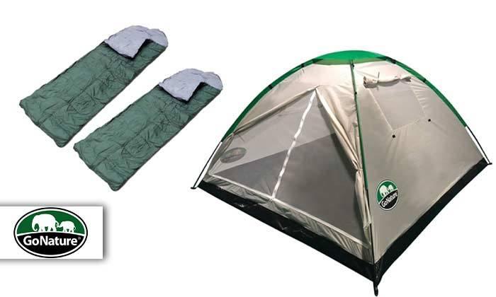 2 אוהל ל-4 אנשים וזוג שקי שינה GoNature