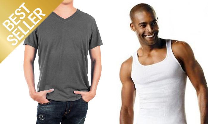 20 מארז 6 חולצות לגברים Fruit of the Loom או Hanes במבחר דגמים