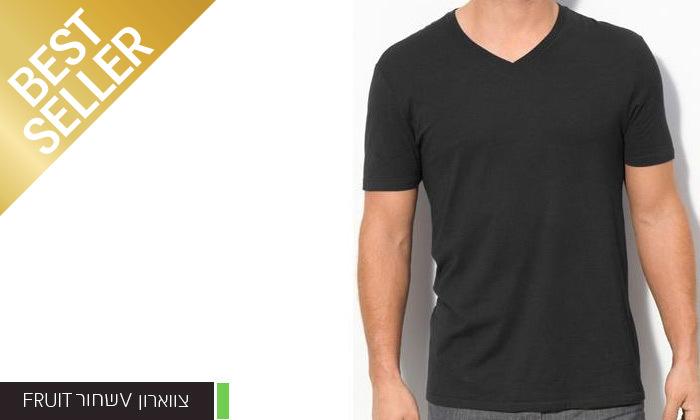 4 מארז 6 חולצות לגברים Fruit of the Loom או Hanes במבחר דגמים