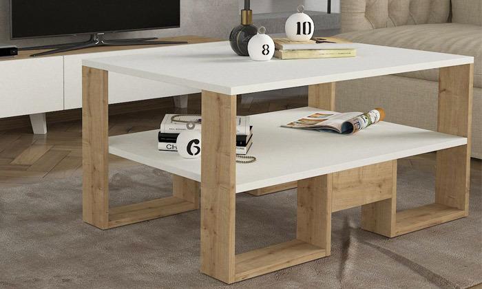 3 שולחן ומזנון לסלון דגם קרולינה עם זוג מדפי תלייה