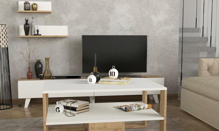 5 שולחן ומזנון לסלון דגם קרולינה עם זוג מדפי תלייה