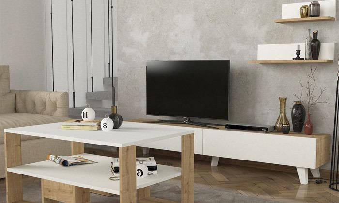 2 שולחן ומזנון לסלון דגם קרולינה עם זוג מדפי תלייה